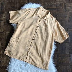 Tommy Bahama Large Orange Silk Shirt Short Sleeve